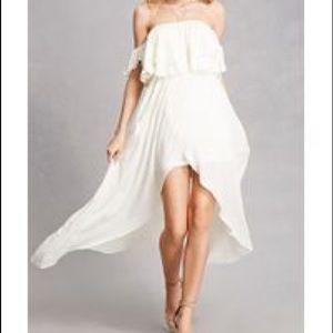 Forever 21 Ivory Tulip Off-the-Shoulder Dress
